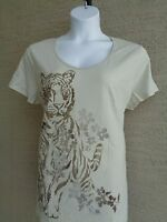 New Just My Size Cotton  V Neck Tee Shirt Beige Glitzy Tiger Graphic 1X