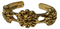 Toe Ring Flower Adjustable Gold Plated over 925 Sterling Silver # 23