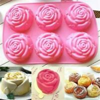 6-Cavity Silicone Silicon Rose Soap Molds Cake Chocolate Candy Jelly Mould CL