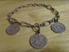 ANTIQUE VINTAGE TURKISH OTTOMAN WHITE GOLD 1/20 12 K GOLD FILLED 3 COIN BRACELET