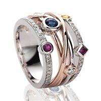 Gaorgeous Zweifarbig Ringe Modeschmuck Damen Zirkon Hochzeitsring Größe 6-10