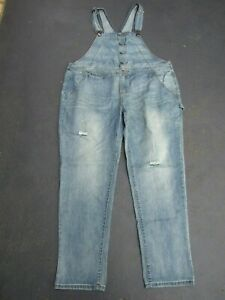 CITY CHIC OVERALLS SIZE 16 DENIM FACTORY DISTRESSED & FADE WORN ONCE PRAC NEW