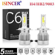 Pair COB H4 C6 2000W 320000LM LED Headlight Kit Hi/Lo Turbo Light Bulbs 6000K US