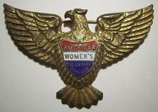 WW2 American Women's Voluntary Services Enamel Hat Pin