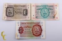 1943 N. Africa British Military Authority 3 Pc Note 1, 2 1/2, 5 Shillings (F-VF)