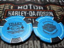 Harley Light Blue & Black Poker Chip Tilley Harley Davidson Statesville, NC