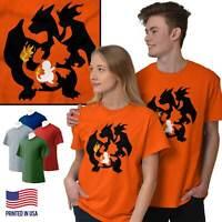 Fire Lizard Evolution Video Gamer Nerd Geeky Short Sleeve T-Shirt Tees Tshirts