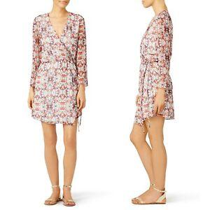 Waverly Grey Stained Glass Wrap Dress Long Sleeve Surplice Patterned Chiffon