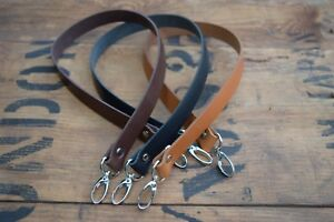 Replacement Leather Shoulder Bag Strap19mm wide 600mm long with silver clasps