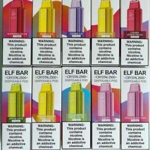 Elf Bar Crystal 2500 Dispoable Vape Pen puffs Vaporiser Kit 20mg Pod Device New