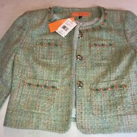 NWT $480 Cynthia by Cynthia Steffe Green Beaded Tweed Blazer Jacket Size 2