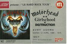 RARE / TICKET BILLET DE CONCERT - MOTORHEAD : LIVE A PARIS EVRY ( FRANCE ) 1988