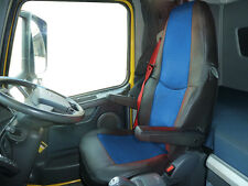 TRUCK SEAT COVERS  COMPATIBLE WITH VOLVO FH3  2008-2013 ECO LEATHER BLACK-BLUE