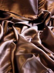 Brown New Luxurious 100% mulberry silk charmeuse Flat top sheet Twin size