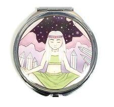 Crystal Witch Handmade Compact Mirror - Spiritual Meditation Artwork