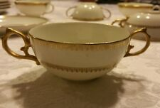 MR Stamped green & red M Redon Limoges Gold Bouillon Cup France
