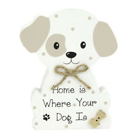 """Wooden Sitting Dog Display - Wordings """" Home Is Where Your Dog Is """" 3.5"""" X 4.75"""