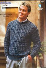"""Patons DK Knitting Pattern 3984 Men's Sweater Jumper  Size 32/42"""""""