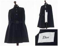 Women's DIOR Wool Cape Poncho Coat Jacket Black Size 38 S