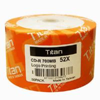 50 Titan Logo 52X CD-R CDR Blank Disc Media 80Min 700MB