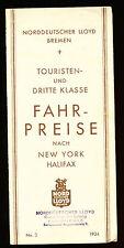 1934 North German Lloyd Tourist & Third Class Rates Brochure
