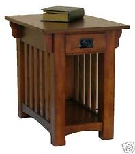New Mission End Table Drawer Shelf in Medium Oak Finish