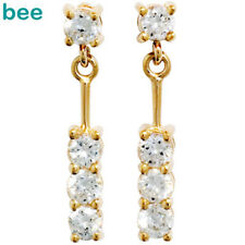 Simulated Diamond 9ct Solid Yellow Gold Drop Earrings 54982