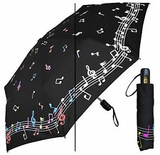 "44"" Color-Changing Music Notes Auto-Auto Mini Umbrella-RainStoppers Rain/Sun UV"