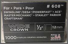 """608 Wide Crown Staples - 1/2"""" (12mm) - Steel - 1000/Pack Arrow Fastener"""