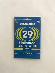 Factory Preloaded lycamobile 3in1 SIMCard + $29X2 Months,T-Mobile signal