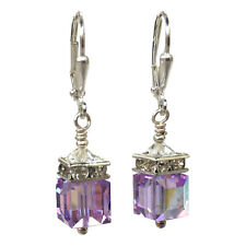 Violet Lavender Square Cube Rhinestone Earrings with Crystal from Swarovski