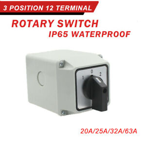 20 AMP 25AMP 32AMP 63AMP 3 Pole Enclosed Changeover Switch Surface Mounted New