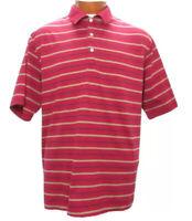 Peter Millar Mens Golf Shirt Size Large Polo Striped Burgundy Tan Navy