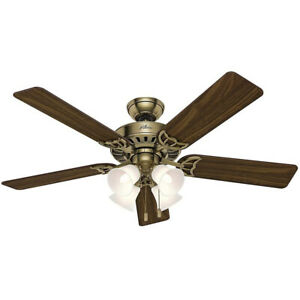 "Hunter Studio Series 52"" Indoor Ceiling Fan w/ 4 LED Lights, Antique Brass"