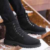 New Mens Suede Lace up Round toe Fur Lined Thicken Ankle Boots Casual Snow Shoes