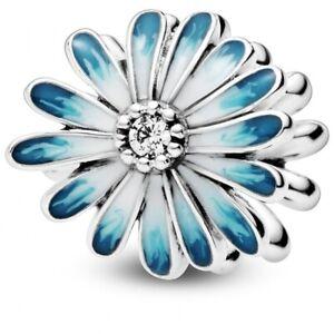 Genuine Pandora Blue Daisy Flower Sterling Silver Bead Charm 798775C01