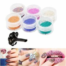 Nail Art 3d Decoration Beads Micro Ball Caviar Starts Hearts Glitter 6 pots set