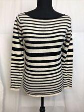 Ellen Tracy Womens Black & White Striped 100% Cashmere Sweater Size S