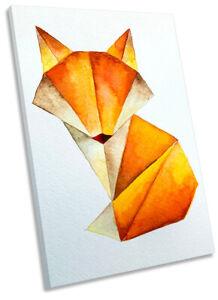 Fox Watercolour Print CANVAS WALL ART Portrait Picture Orange