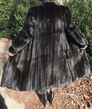 Reversible Designer Oscar de la Renta Sable brown black Mink Fur Coat S-M 2-6