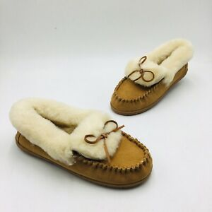 Lands' End Women's Suede Leather Shearling Fur Moccasin Slippers - English Tan