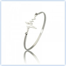 NEW WOMEN SOLID SURGICAL STEEL SILVER PULSE STYLE BRACELET BANGLE HYPOALLERGENIC