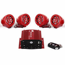 4 Channels UTV ATV Motor Anti-Theft Speakers FM  USB Audio System Stereo