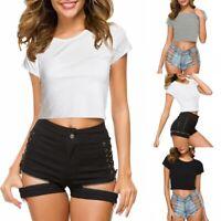 Womens Short Sleeve Crop Top T-Shirt Round Neck Stretch Plain Blouse Vest Top UK