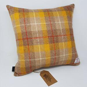 Yellow Check Wool Harris Tweed Quality handmade genuine Cushion Cover all sizes