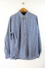 Tommy Hilfiger Custom Fit Herren Hemd Gr. L Langarm Blau Gestreift Shirt