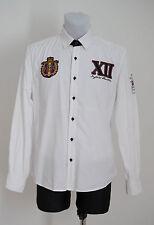 Herren John Devin Hemd 100% Baumwolle Langarm Cricket Keeper weiß M Medium EXC