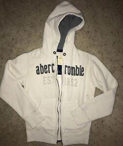 NWT ABERCROMBIE & FITCH KIDS(BoYs) HOODIE ZIP UP Cream Sweatshirt Sz M A&F Grey