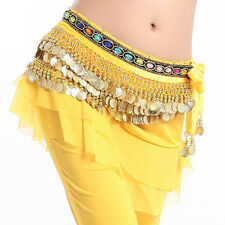 US2 Belly Dance Hip Scarf Skirt Wrap Velvet Chain coins Tribal Waist Belt Skirt