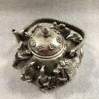 Collectible Decorated Old Tibet Silver Carved Flower Bird Fish Fruit Tea Pot